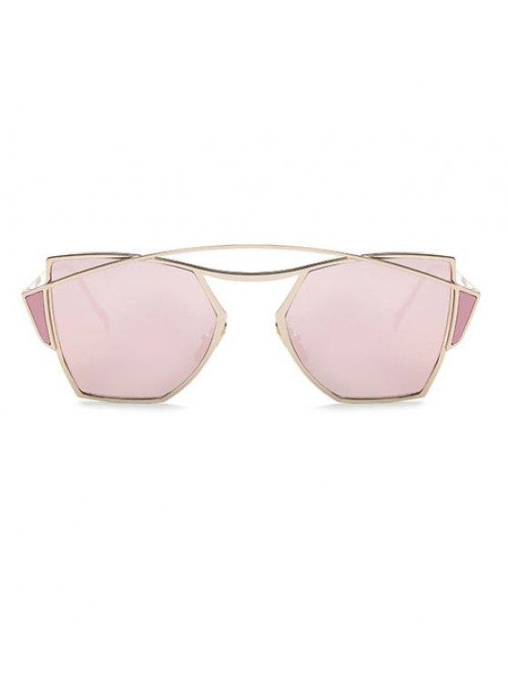 Crossbar Irregular Mirrored Sunglasses - ROSE GOLD  Mobile