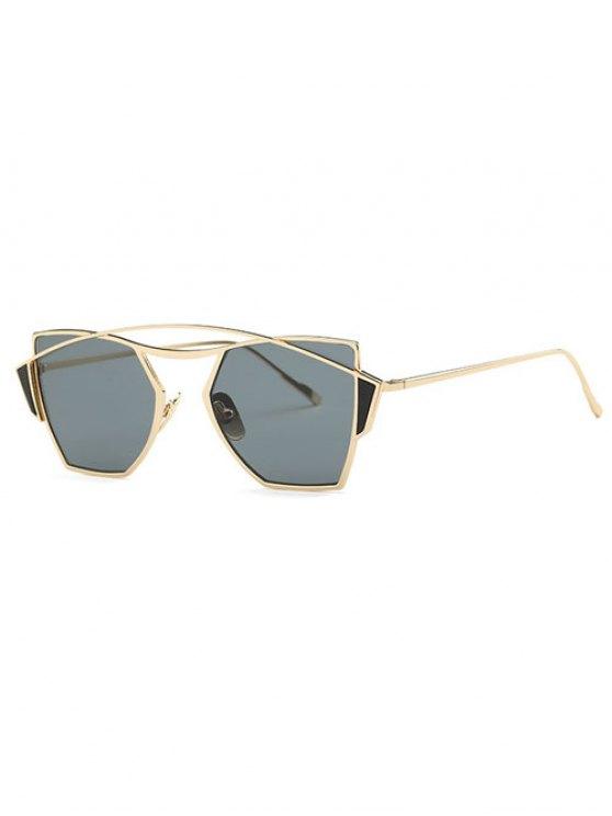 online Crossbar Cut Out Irregular Sunglasses - GOLDEN