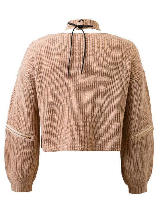Zippered Cropped Jumper With Choker - NUDE ONE SIZE Mobile