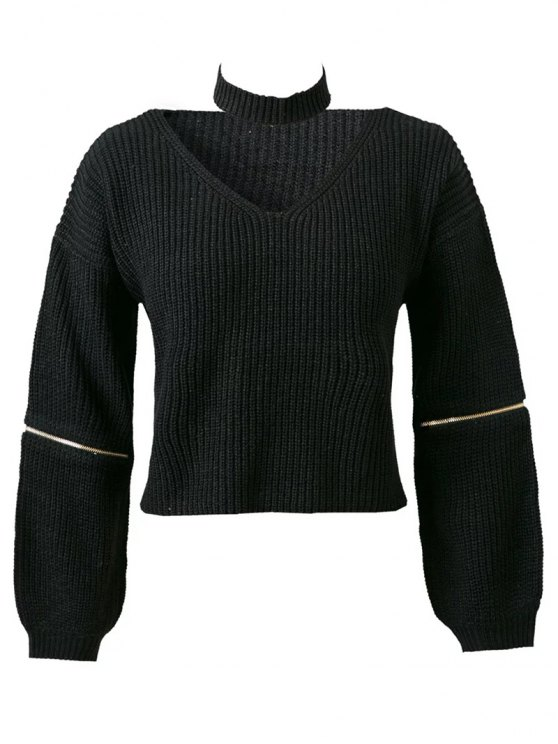 women Zippered Cropped Jumper With Choker - BLACK ONE SIZE