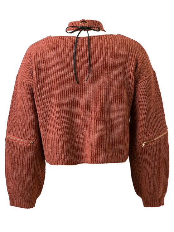 Zippered Cropped Jumper With Choker - JACINTH ONE SIZE Mobile
