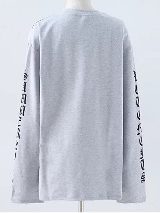 Letter Round Neck Loose Sweatshirt - GRAY M Mobile