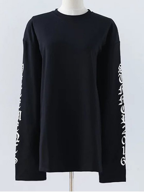 Letter Round Neck Loose Sweatshirt - BLACK S Mobile