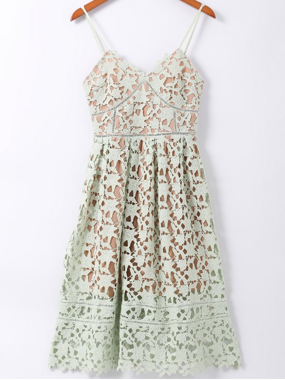 Spaghetti Straps Crochet Flower Cut Out Dress - LIGHT GREEN L Mobile