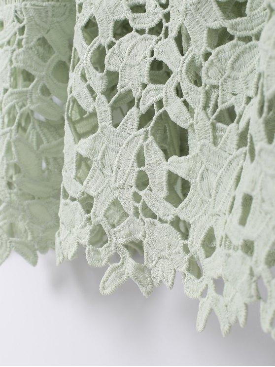 Spaghetti Straps Crochet Flower Cut Out Dress - LIGHT GREEN L Mobile