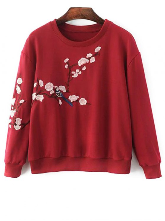 Titoni Embroidered Round Neck Sweatshirt - WINE RED S Mobile