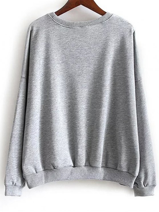 Round Neck Floral Embroidered Sweatshirt - GRAY M Mobile