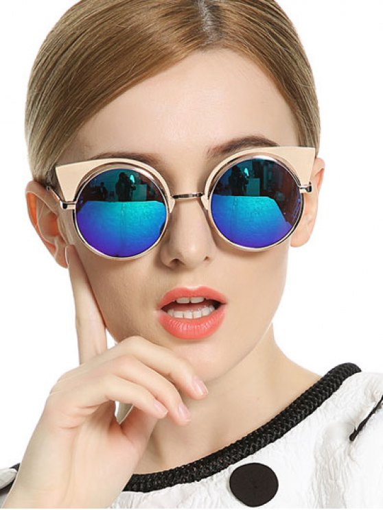 hot Cat Ears Round Mirrored Sunglasses - BLUE