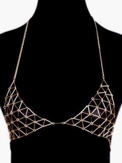 Triangle Bra Body Chain - Golden