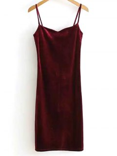 Solid Color Spaghetti Straps Velvet Dress - Wine Red