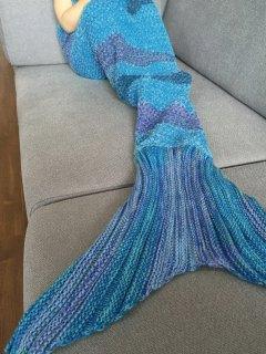 Stripe Knitted Mermaid Tail Blanket - Blue + Purple