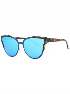 Print Cat Eye Mirrored Sunglasses - Blue
