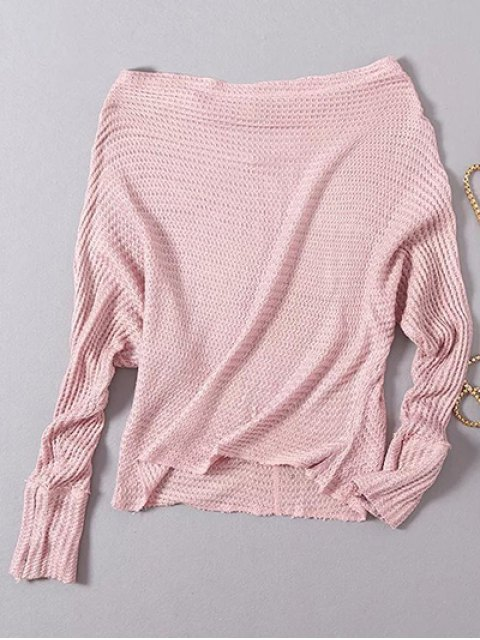 women's Loose Fitting Slash Neck Batwing Sleeve Sweater - LIGHT PINK ONE SIZE Mobile