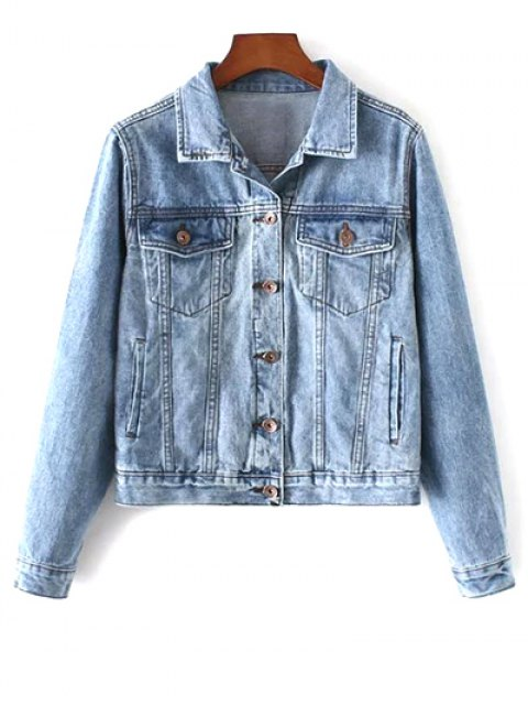 buy Pockets Shirt Neck Denim Jacket - DENIM BLUE M Mobile