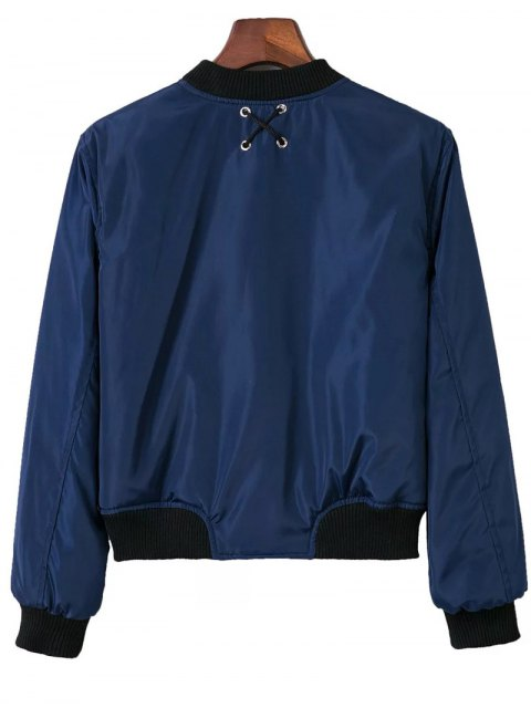 ladies Stand Neck Lace Up Zipper Jacket - BLUE S Mobile