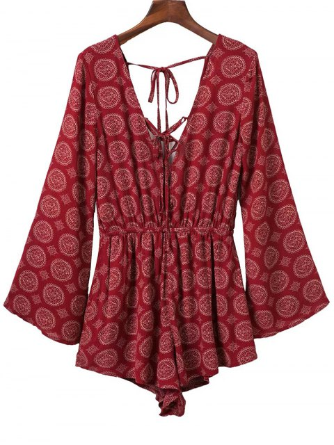 outfits V Neck Lace Up Printed Romper - RED M Mobile