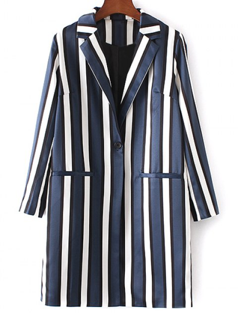 online Striped Lapel Collar Long Sleeve Coat - BLUE AND WHITE S Mobile