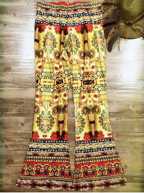 chic Vintage Print Bell Bottoms - COLORMIX M Mobile