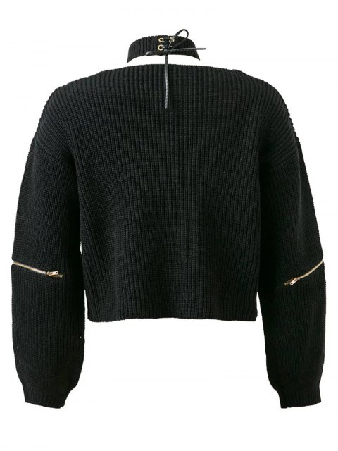 women Zippered Cropped Jumper With Choker - BLACK ONE SIZE Mobile
