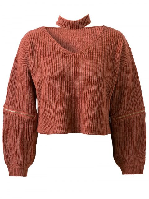 ladies Zippered Cropped Jumper With Choker - JACINTH ONE SIZE Mobile