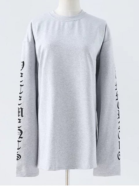 latest Letter Round Neck Loose Sweatshirt - GRAY S Mobile