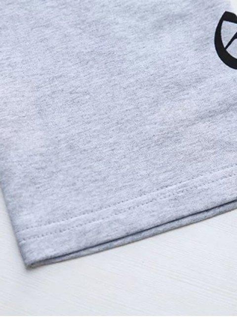 shops Letter Round Neck Loose Sweatshirt - GRAY M Mobile