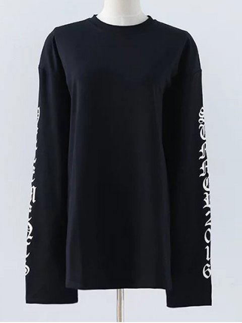 fashion Letter Round Neck Loose Sweatshirt - BLACK S Mobile