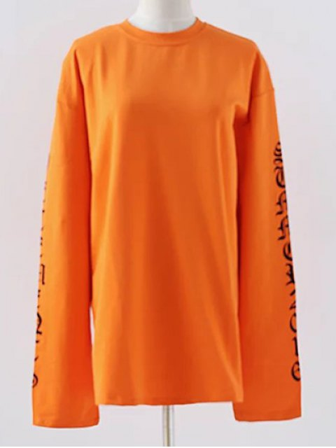 fancy Letter Round Neck Loose Sweatshirt - SWEET ORANGE S Mobile