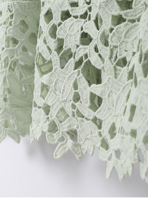 outfits Spaghetti Straps Crochet Flower Cut Out Dress - LIGHT GREEN L Mobile