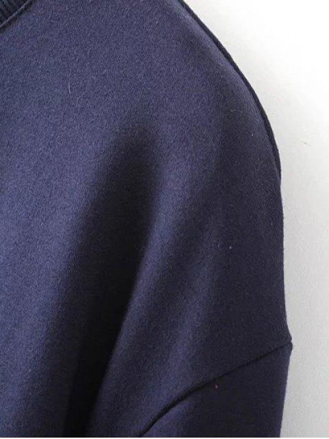 outfit Titoni Embroidered Round Neck Sweatshirt - PURPLISH BLUE L Mobile