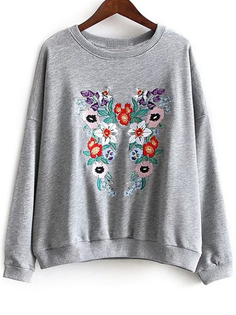 fashion Round Neck Floral Embroidered Sweatshirt - GRAY M Mobile