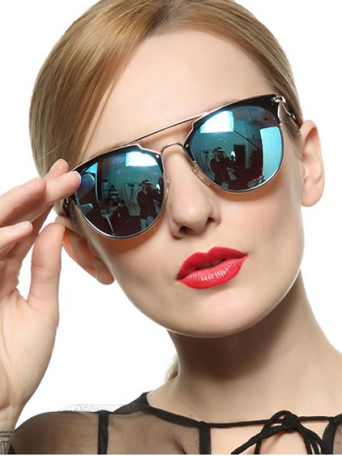 online Ombre Cat Eye Mirrored Sunglasses - BLUE  Mobile