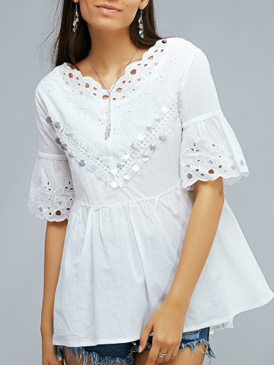 V Neck Flare Sleeve White Sequined Lace Spliced Blouse