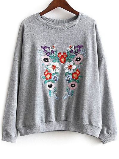 Round Neck Floral Embroidered Sweatshirt - GRAY L Mobile