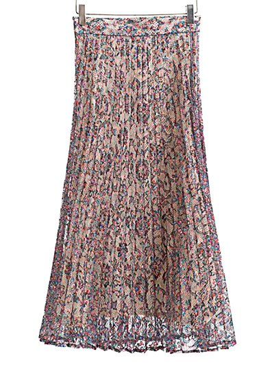 Pleated Printed Lace Midi Skirt - COLORMIX S Mobile