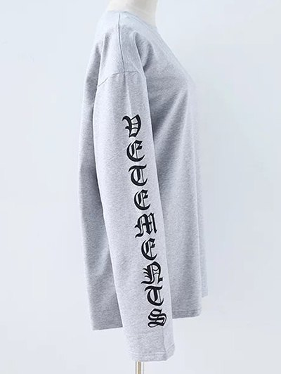Letter Round Neck Loose Sweatshirt - GRAY S Mobile
