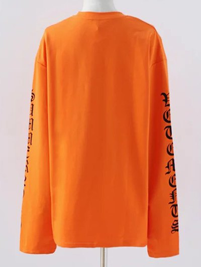 Letter Round Neck Loose Sweatshirt - SWEET ORANGE M Mobile