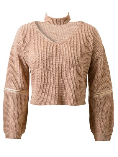 Zippered Cropped Jumper With Choker - Nude