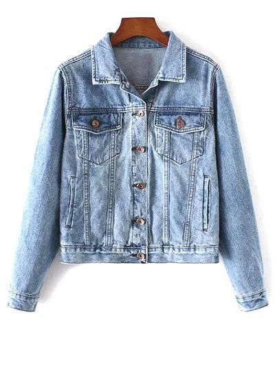 Pockets Shirt Neck Denim Jacket - Denim Blue
