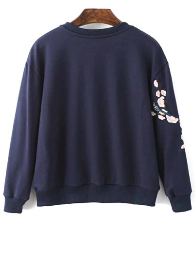 Titoni Embroidered Round Neck Sweatshirt - PURPLISH BLUE M Mobile