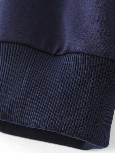 Titoni Embroidered Round Neck Sweatshirt - PURPLISH BLUE S Mobile