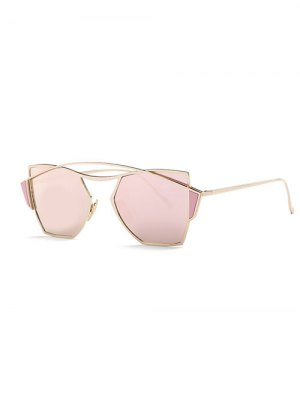 Crossbar Irregular Mirrored Sunglasses - Rose Gold
