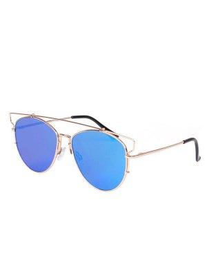 Cut Out Pilot Mirrored Sunglasses - Blue