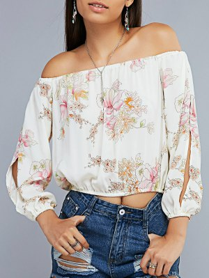 Floral Print Off The Shoulder Split Sleeve Cropped Blouse - Off-white