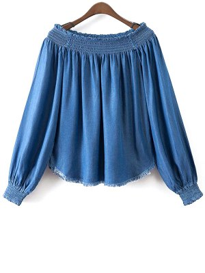 Slash Neck Lantern Sleeve Denim Blouse - Azure