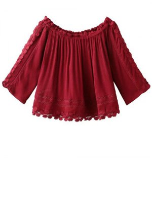 Boat Neck 3/4 Sleeve Lace Blouse - Red