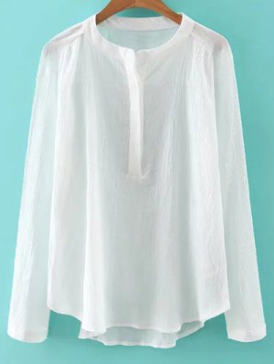 Long Sleeve Stand Neck Crinkle Sheer Blouse - White