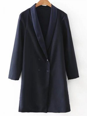 Turn-Down Collar Double-Breasted Coat - Purplish Blue