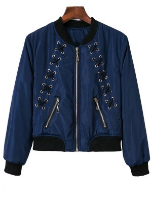 Stand Neck Lace Up Zipper Jacket - Blue