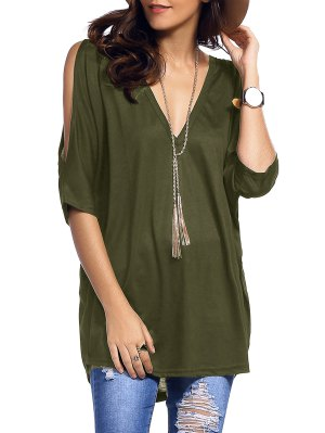 Cold Shoulder Batwing T-Shirt - Army Green